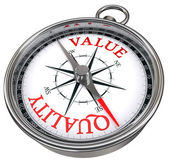 Quality versus value concept compass — Stock Photo