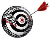 Four p marketing principles on target — Stock Photo