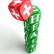Health 3d colorful cube tower — Stock Photo