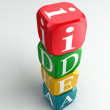 Idea 3d colorful buzzword tower - Zdjęcie stockowe