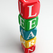 Learn 3d colorful buzzword tower — Stock Photo