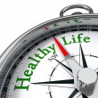 Healthy life concept compass - Stock Photo