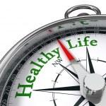 Healthy life concept compass — Stock Photo