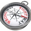 Stock Photo: Right versus wrong way concept compass