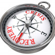Stock Photo: Crisis vs recovery concept compass