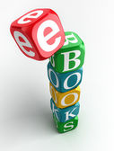 E-books 3d colorful cube tower — Stock Photo