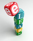 E learn sign 3d colorful buzzword — Stock Photo