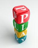 Hrát 3d barevné buzzword věž — Stock fotografie
