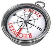 Crisis vs recovery concept compass — Stock Photo