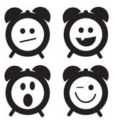 Sorrisi orologio serie cartone animato doodle — Vettoriale Stock