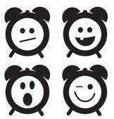 笑顔の時計の落書き漫画セット — ストックベクタ