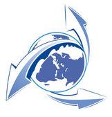 Aarde pijlen blauwe pictogram web — Stockvector