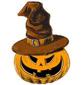 Halloween pumpkin and witch magic hat — Vector de stock