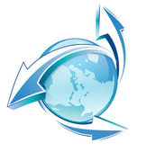 Earth arrows blue glossy icon — Stock Vector