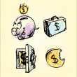 Royalty-Free Stock Vector Image: Money and sale pig safe dollar box