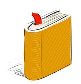 Book scribbled orange sketch — Stock Vector