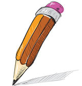 Pencil sketch cartoon vector illustration — Stock Vector