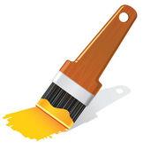 Fırça turuncu sarı boya resimde — Stok Vektör