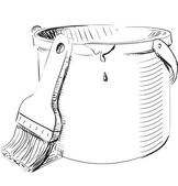 Paint bucket with brushsketch — Stock Vector