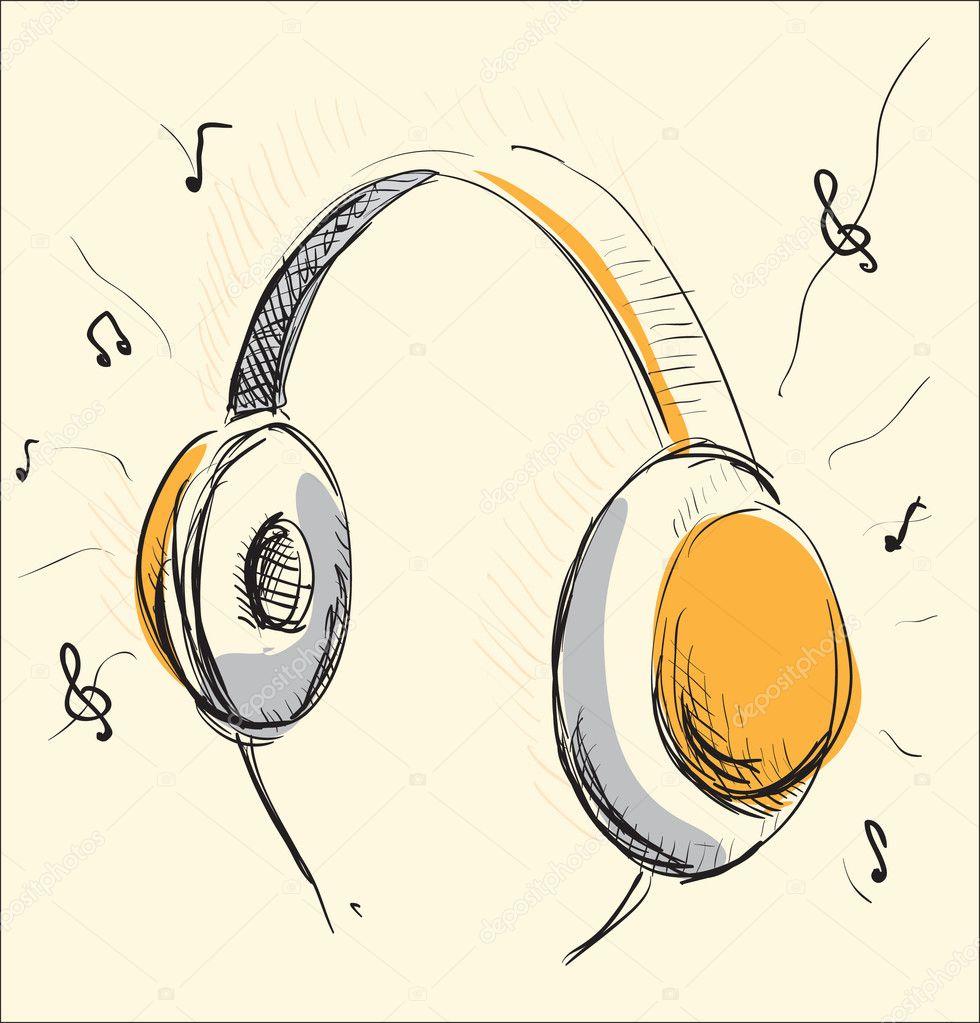 Headphones music cartoon illustration — Stock Vector ...