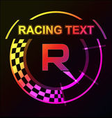 Glowing racing sign template — Stock Vector