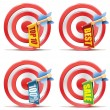 Stock Vector: Red darts target aim and arrow