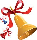 Campana de navidad dibujos animados amarillo — Vector de stock