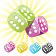 Lucky casino dice in different colors — Stock Vector