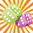 Dice lucky glossy vector illustration — Stock Vector