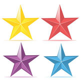 Four colors vector stars — Stock Vector