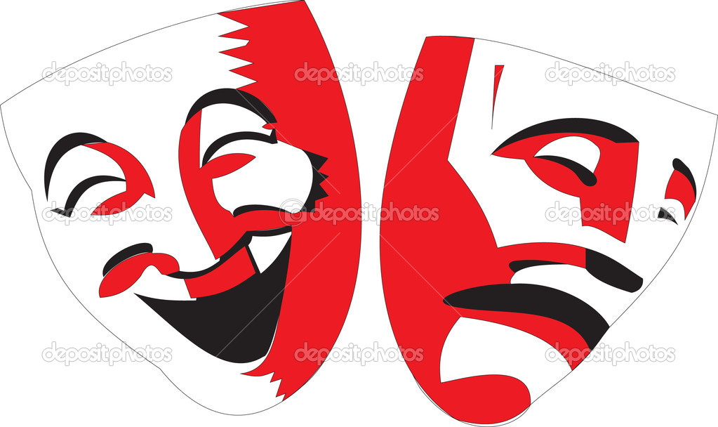Vector cartoon style illustration of red and black theater masks on white background. Icons of happy and sad characters of classical opera — Stock Vector #7519986