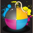 Stock Vector: Vector illustration of colorful glossiness printing CMYK bomb
