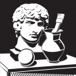 Still life with cast Apollo head, jug and brush — Stockvector #7520715