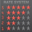 Stock Vector: Rating stars set red vector illustration