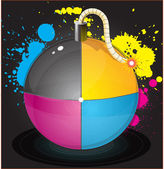 Vector illustration of colorful glossiness printing CMYK bomb — Vector de stock