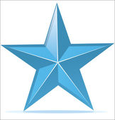 Glossy blue star — Stock Vector