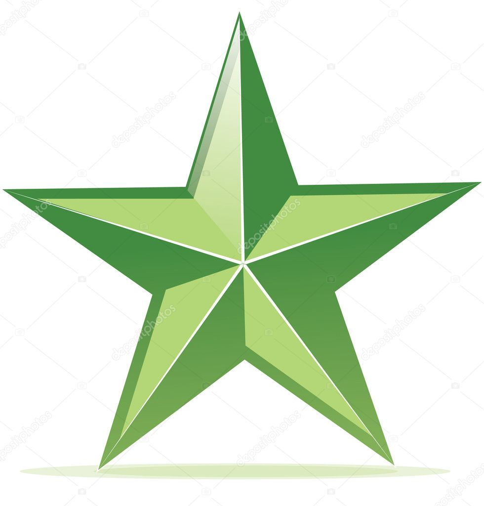 Vector icon of glossy green star — Stock Vector © Chuhail