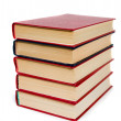 Stock Photo: Pile of red books.