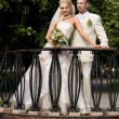 Bride and groom is standing on the small bridge in city park. — Stock Photo