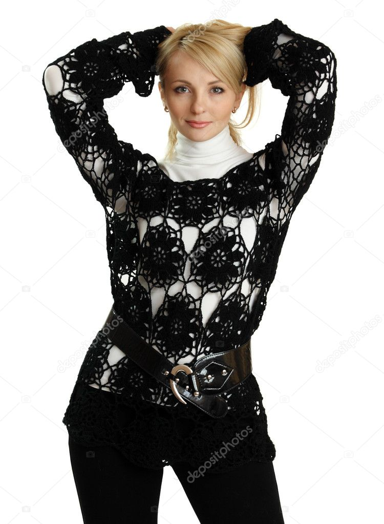 Beautiful girl in black knitted jacket isolated on white.  Stock Photo #7934644