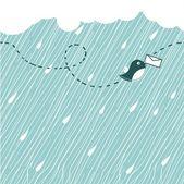 Uccello sotto la pioggia — Vettoriale Stock