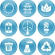 Blue ball icons environmnet — Stock Vector