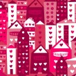 Seamless  city in  love background — Stock Vector