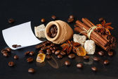 Coffee beans and spices. — Stock Photo