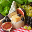 Stock Photo: Cheese and fruits.