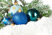Blue christmas toys. — Stockfoto