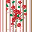 图库矢量图片: Roses and cherry flowers branch card