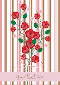 Gül ve kiraz çiçekleri şube kartı — Stok Vektör