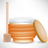 Honey jar with wooden drizzle and cap — Stock Vector