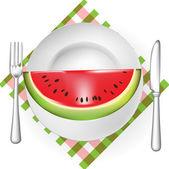 Skiva vattenmelon serveras på tallrik — Stockvektor